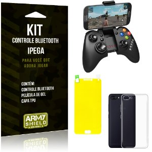 Kit Controle Bluetooth Asus Zenfone 4 Max - 5.5' ZC554KL Controle + Película + Capa - Armyshield