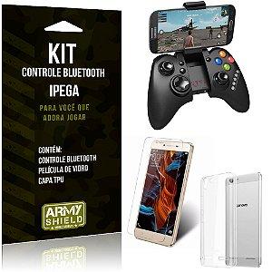 Kit Controle Bluetooth Lenovo K5 Controle + Película + Capa - Armyshield