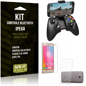 Kit Controle Bluetooth Lenovo K6 Plus Controle + Película + Capa - Armyshield