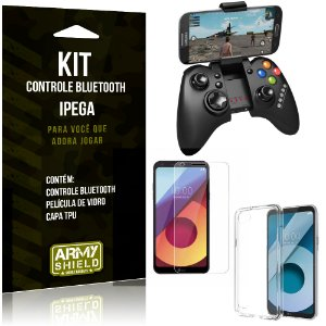 Kit Controle Bluetooth LG Q6 Plus Controle + Película + Capa - Armyshield