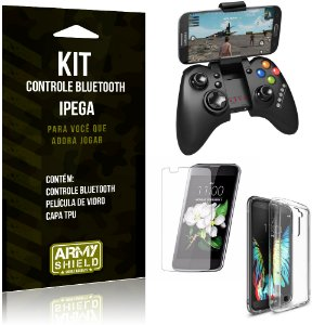 Kit Controle Bluetooth LG K10 Controle + Película + Capa - Armyshield