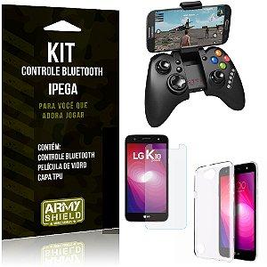 Kit Controle Bluetooth LG K10 Power Controle + Película + Capa - Armyshield