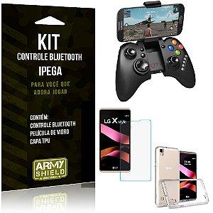 Kit Controle Bluetooth LG X Style Controle + Película + Capa - Armyshield