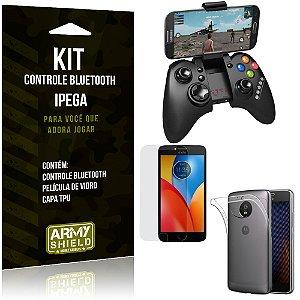 Kit Controle Bluetooth Motorola Moto E4 Controle + Película + Capa - Armyshield