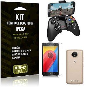 Kit Controle Bluetooth Motorola Moto C Plus Controle + Película + Capa - Armyshield
