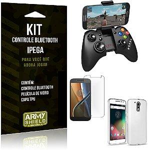 Kit Controle Bluetooth Motorola Moto G4 Controle + Película + Capa - Armyshield