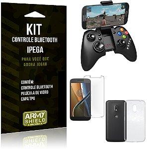 Kit Controle Bluetooth Motorola Moto G4 Play Controle + Película + Capa - Armyshield