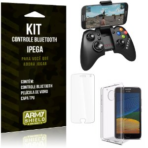 Kit Controle Bluetooth Motorola Moto G5 Controle + Película + Capa - Armyshield
