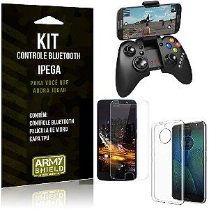Kit Controle Bluetooth Motorola Moto G5S Plus Controle + Película + Capa - Armyshield