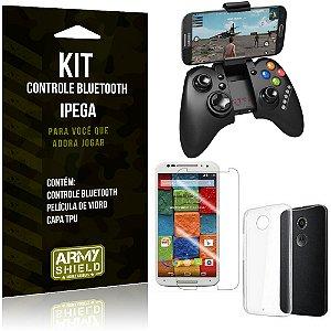 Kit Controle Bluetooth Motorola Moto X 2 Controle + Película + Capa - Armyshield