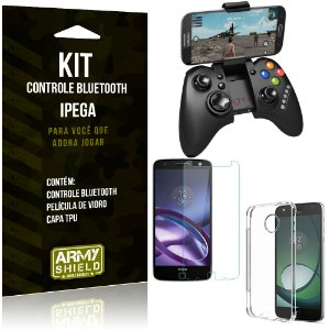 Kit Controle Bluetooth Motorola Moto Z Force Controle + Película + Capa - Armyshield