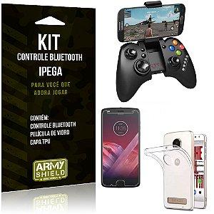 Kit Controle Bluetooth Motorola Moto Z2 Play Controle + Película + Capa - Armyshield