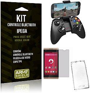 Kit Controle Bluetooth Positivo Selfie S455 Controle + Película + Capa - Armyshield