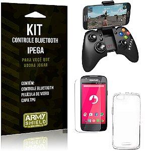 Kit Controle Bluetooth Positivo S480 Controle + Película + Capa - Armyshield