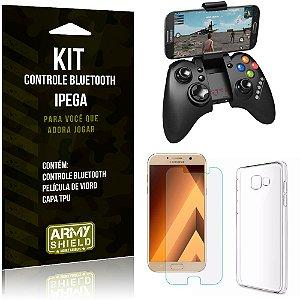 Kit Controle Bluetooth Samsung Galaxy A3 (2017) Controle + Película + Capa - Armyshield