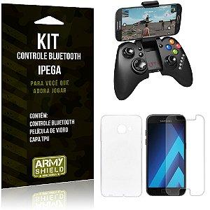 Kit Controle Bluetooth Samsung Galaxy A7 (2017) Controle + Película + Capa - Armyshield
