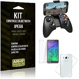 Kit Controle Bluetooth Samsung Galaxy Gran Prime Controle + Película + Capa - Armyshield