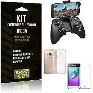 Kit Controle Bluetooth Samsung Galaxy J1 (2016) Controle + Película + Capa - Armyshield