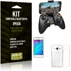 Kit Controle Bluetooth Samsung Galaxy J2 (2015) Controle + Película + Capa - Armyshield