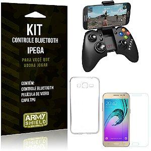 Kit Controle Bluetooth Samsung Galaxy J2 (2016) Controle + Película + Capa - Armyshield