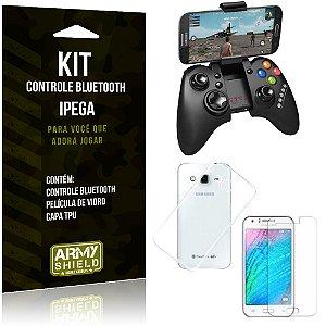 Kit Controle Bluetooth Samsung Galaxy J3 (2015) Controle + Película + Capa - Armyshield