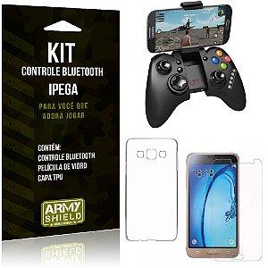 Kit Controle Bluetooth Samsung Galaxy J3 Prime Controle + Película + Capa - Armyshield