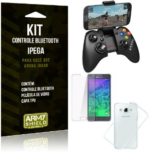 Kit Controle Bluetooth Samsung Galaxy J5 (2015) Controle + Película + Capa - Armyshield