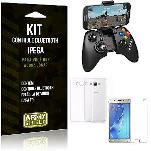 Kit Controle Bluetooth Samsung Galaxy J7 (2016) Controle + Película + Capa - Armyshield