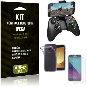Kit Controle Bluetooth Samsung Galaxy J7 Pro (2017) Controle + Película + Capa - Armyshield