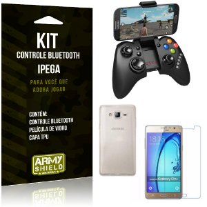 Kit Controle Bluetooth Samsung Galaxy On7 Controle + Película + Capa - Armyshield