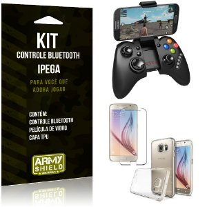 Kit Controle Bluetooth Samsung Galaxy S6 Controle + Película + Capa - Armyshield
