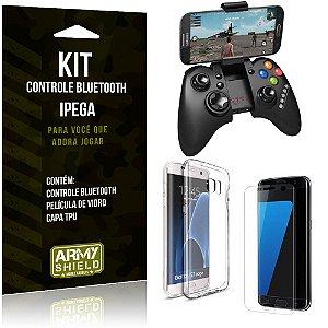 Kit Controle Bluetooth Samsung Galaxy S7 Edge Controle + Película + Capa - Armyshield