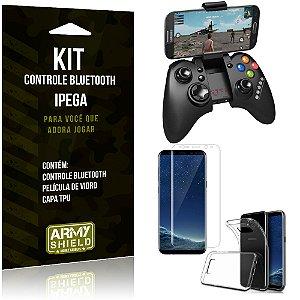 Kit Controle Bluetooth Samsung Galaxy S8 Plus Controle + Película + Capa - Armyshield