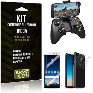 Kit Controle Bluetooth Samsung Galaxy A8 Controle + Película + Capa - Armyshield
