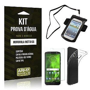 Kit Capa à Prova D'água Motorola Moto G6 Prova Dágua + Película + Capa - Armyshield