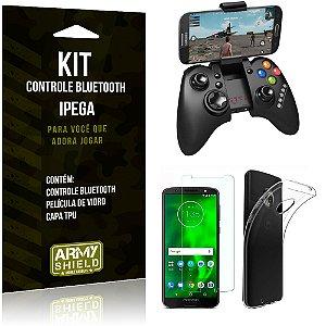 Kit Controle Bluetooth Motorola Moto G6 Controle + Película + Capa - Armyshield