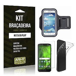 Kit Braçadeira Motorola Moto G6 Play Braçadeira + Película + Capa - Armyshield