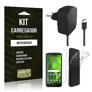 Kit Carregador Motorola Moto G6 Play Carregador + Película + Capa - Armyshield
