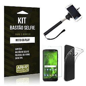 Kit Bastão Selfie Motorola Moto G6 Play Bastão + Película + Capa - Armyshield