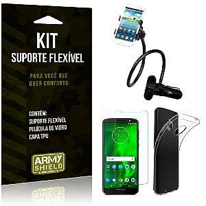 Kit Suporte Flexível Motorola Moto G6 Play Suporte + Película + Capa - Armyshield
