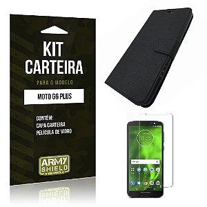 Kit Capa Carteira Motorola Moto G6 Plus Capa Carteira + Película - Armyshield