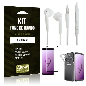 Kit Fone de Ouvido Galaxy S9 Fone + Película + Capa - Armyshield