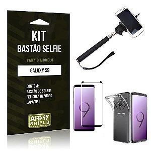 Kit Bastão Selfie Galaxy S9 Bastão + Película + Capa - Armyshield