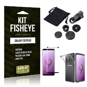 Kit Fisheye Galaxy S9 Plus Lentes + Película + Capa - Armyshield