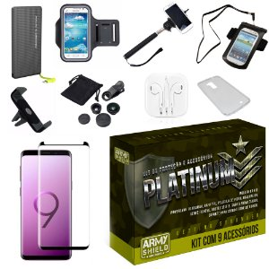Kit Platinum Galaxy S9 Plus com 9 Acessórios - Armyshield