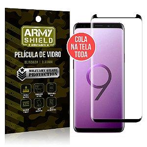 Película de Vidro Elite Cola na Tela Toda Samsung Galaxy S9 Grátis Película de Lente - Armyshield