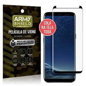 Película de Vidro Elite Cola na Tela Toda Samsung Galaxy S8 Grátis Película de Lente - Armyshield