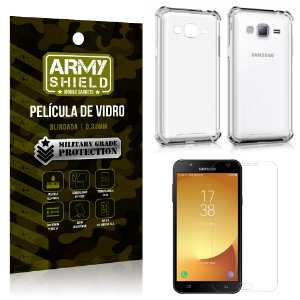 Kit Capa Anti Shock + Película de Vidro Samsung Galaxy J7/J7 neo - Armyshield