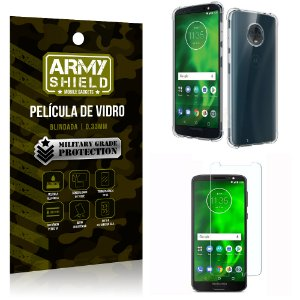 Kit Capa Anti Shock + Película de Vidro Motorola Moto G6 - Armyshield
