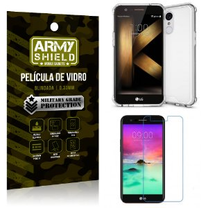Kit Capa Anti Shock + Película de Vidro LG K10 2017 - Armyshield